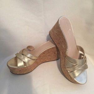 Kate Spade Gold Metallic Wedge Sandal Size 8